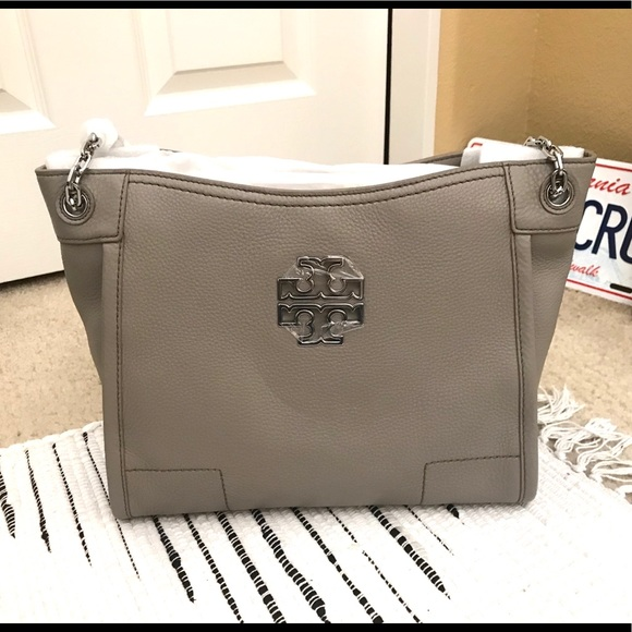 d63bd50c84a Tory Burch Bitten French Grey Leather Tote. NWT